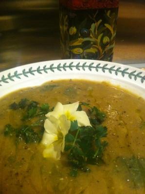 zuppa di lenticchie, tarassaco e primule